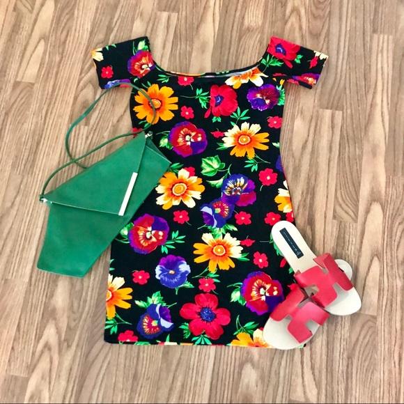 American Apparel Dresses & Skirts - American Apparel Floral Femme Off-shoulder Dress
